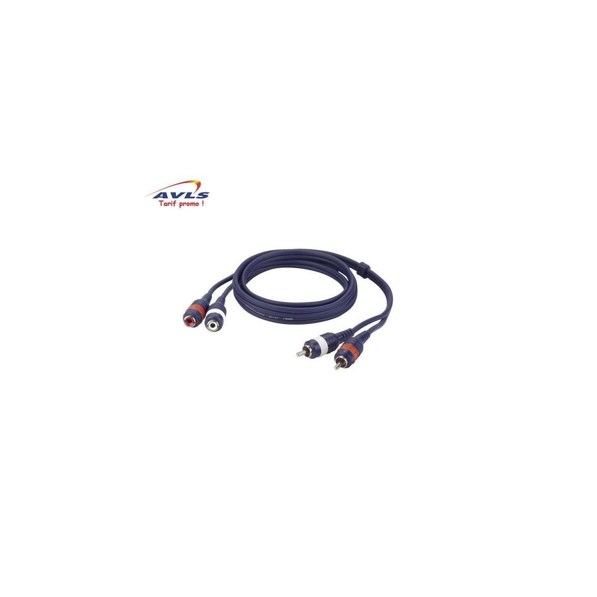 Câble Rca 3 m : 2 x Rca mâle / 2 x Rca femelle